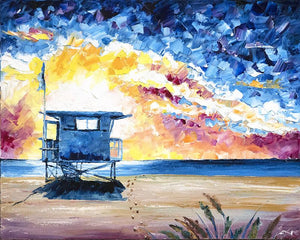 Tower Life 6 - Original California Beach Art