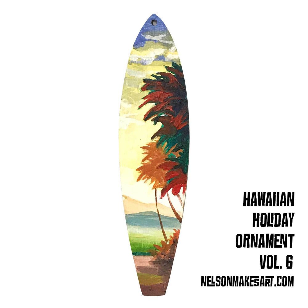 Tropical Christmas ornament with hand-painted palm trees against distant islands. Perfect surfing Christmas gift.