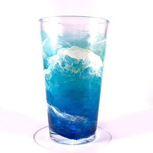 Castaway Pint Glasses - hand painted beach glassware