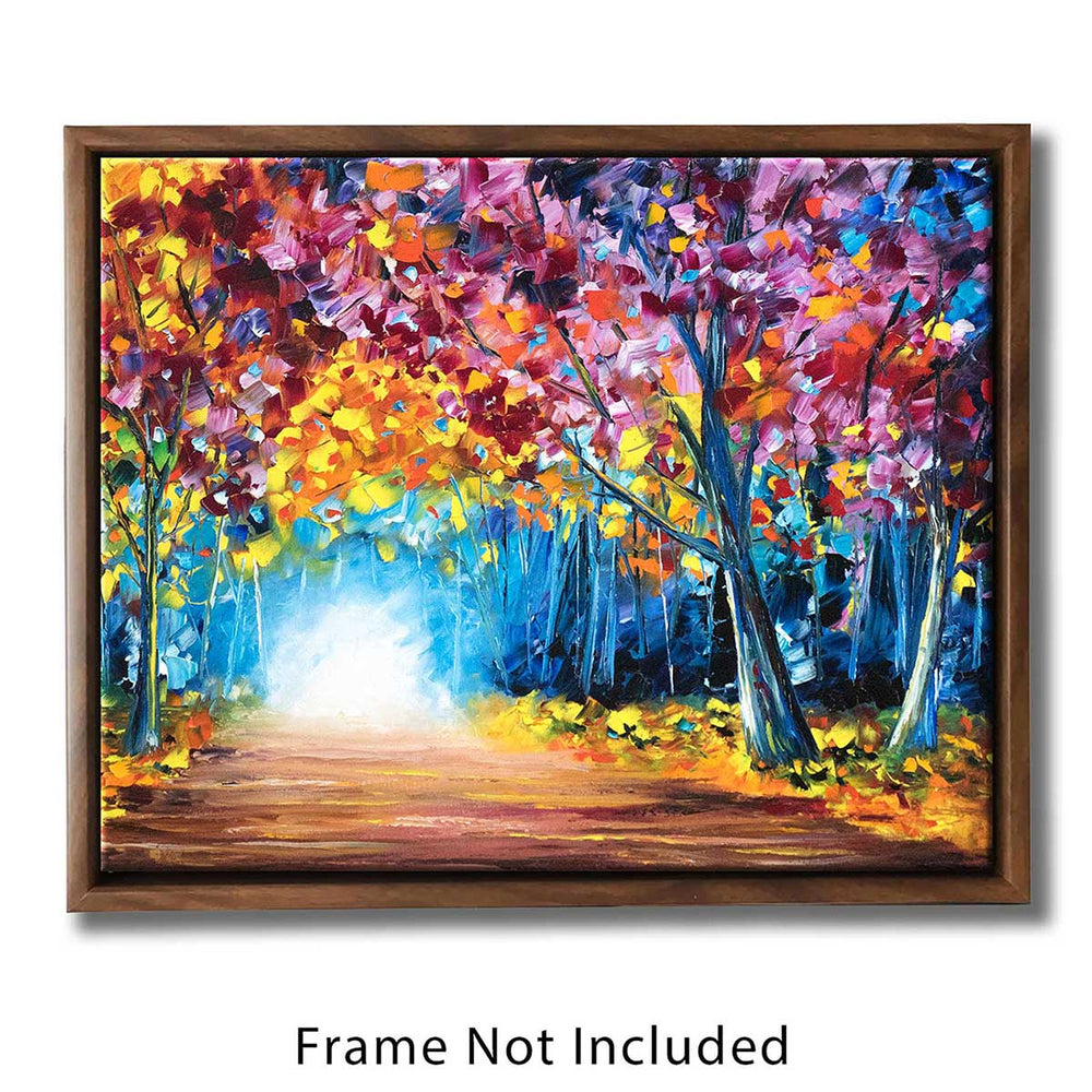 Framed nature wall art canvas showing a fall landscape painting of an autumn forest with a path through the trees.