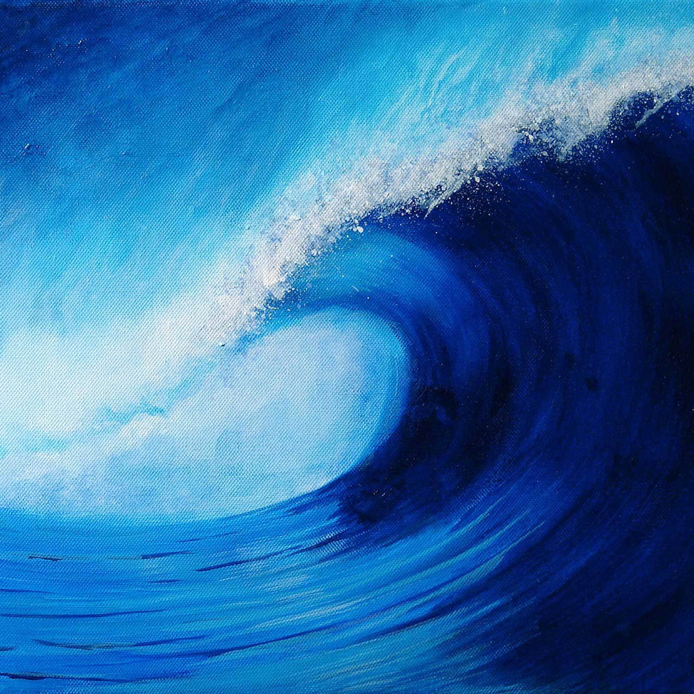 Acrylic painting of deep blue wave curling against a blue sky with trailing white foam