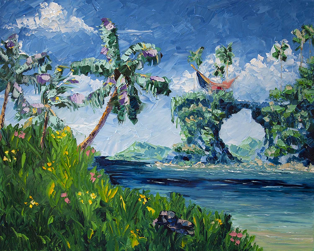 Oil Painting of Tropical Island with Palm Trees and Flowers