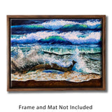 Nature Wall Art with Turquoise Waves on Sandy Beach