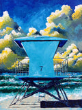 Surfing art of SoCal lifeguard tower on sunny beach in turquoise and gold