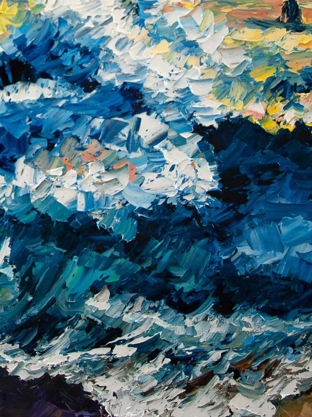 Sunset Wall Art with Turquoise Waves painted in Oil on Canvas