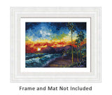 Original Oil Painting of Coastal Art with Lifeguard Station on Beach at Sunset