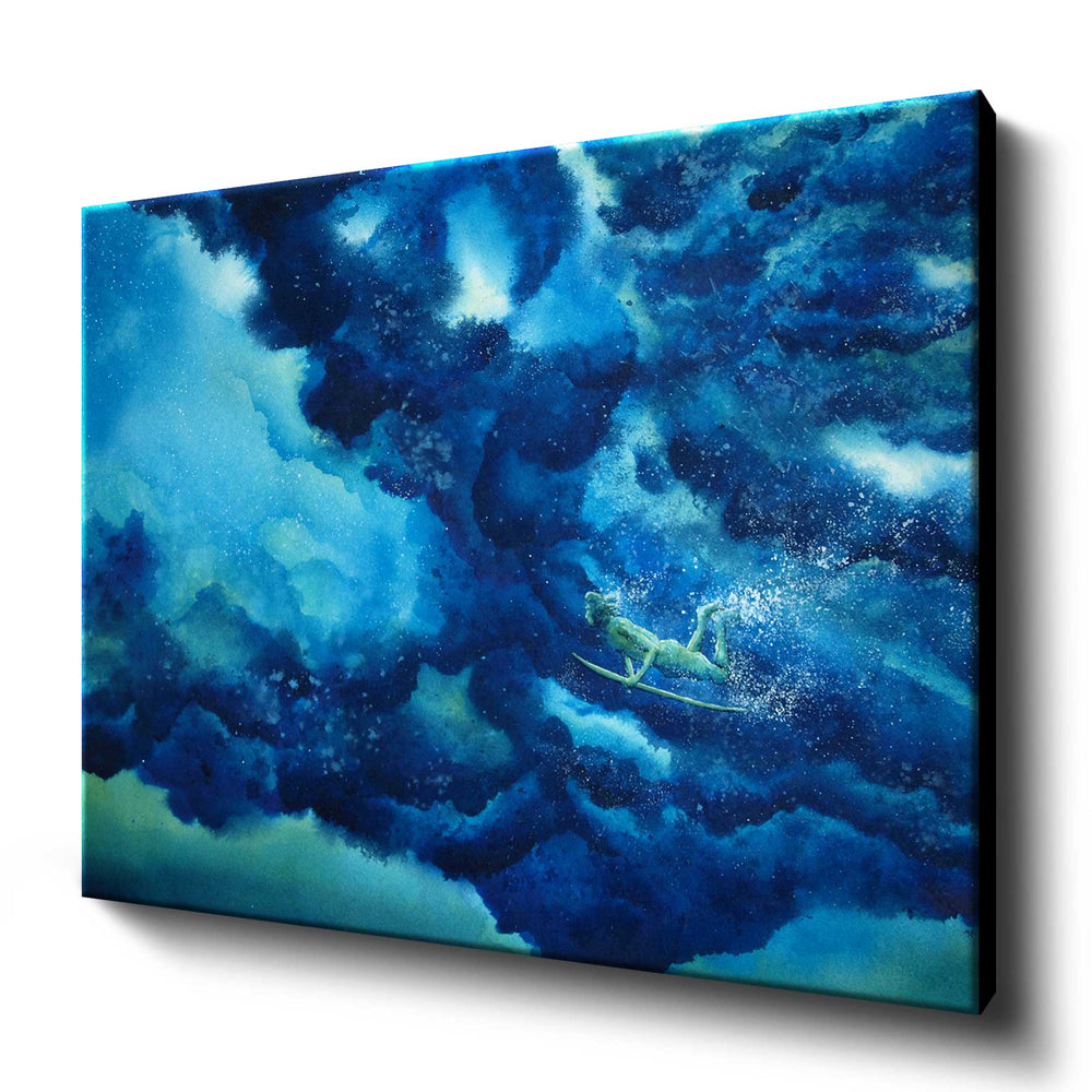 Canvas art print of watercolor wave painting with surfer diving beneath rolling blue wave