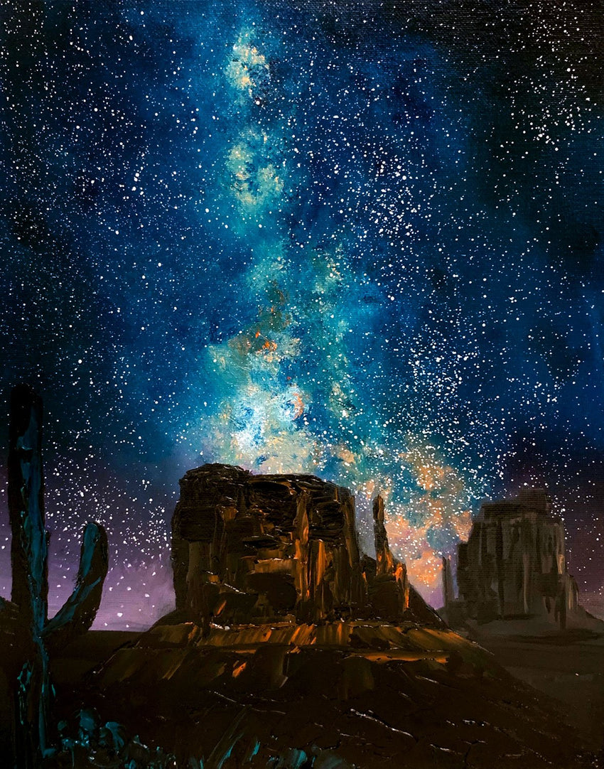 Celestial Sky over Monument Valley mini-art by Nelson Makes Art