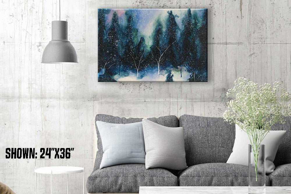 Winter solstice artwork of snowy forest with dark evergreens against a pale winter sky with aurora borealis highlights.