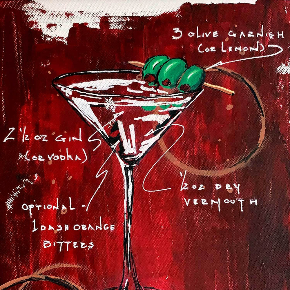 Bar décor of 3 Olive Martini painted on red canvas with white highlights and cocktail recipe