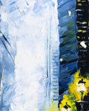 Urban wall art of city skyline with wet street and blue and yellow highlights