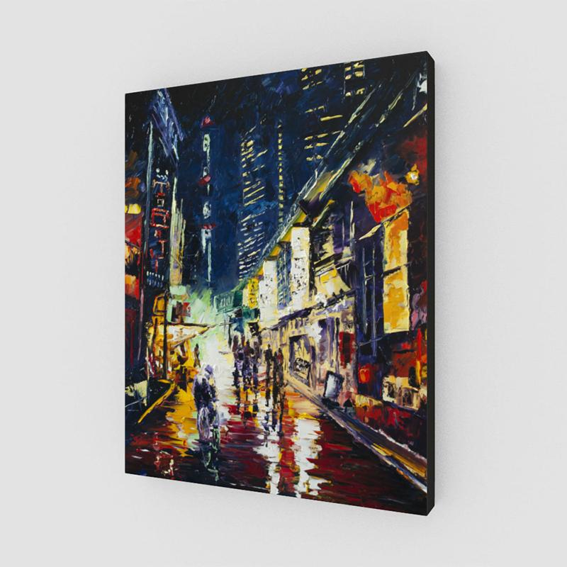 Asian City Street Orient Art Canvas Painting by Nelson