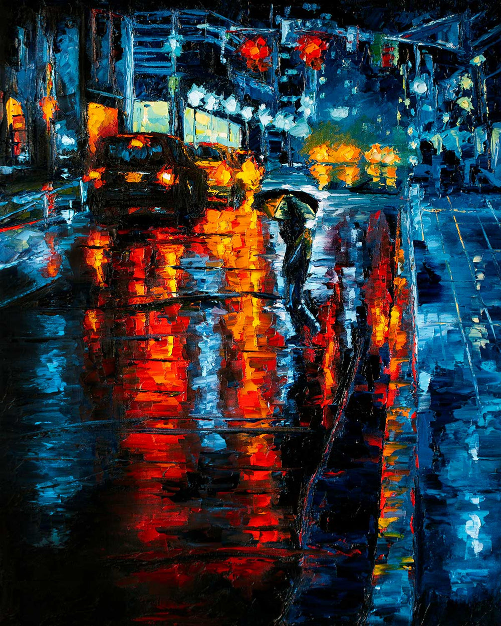 Original oil painting of New York City street in the rain with blue and orange reflected lights