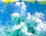 Original beach painting of fluffy white clouds in a blue sky over a calm ocean horizon and white sand beach