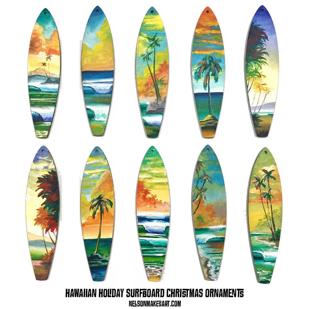 Set of ten surfboard Christmas ornaments painted with tropical Hawaiian landscapes in bright colors.