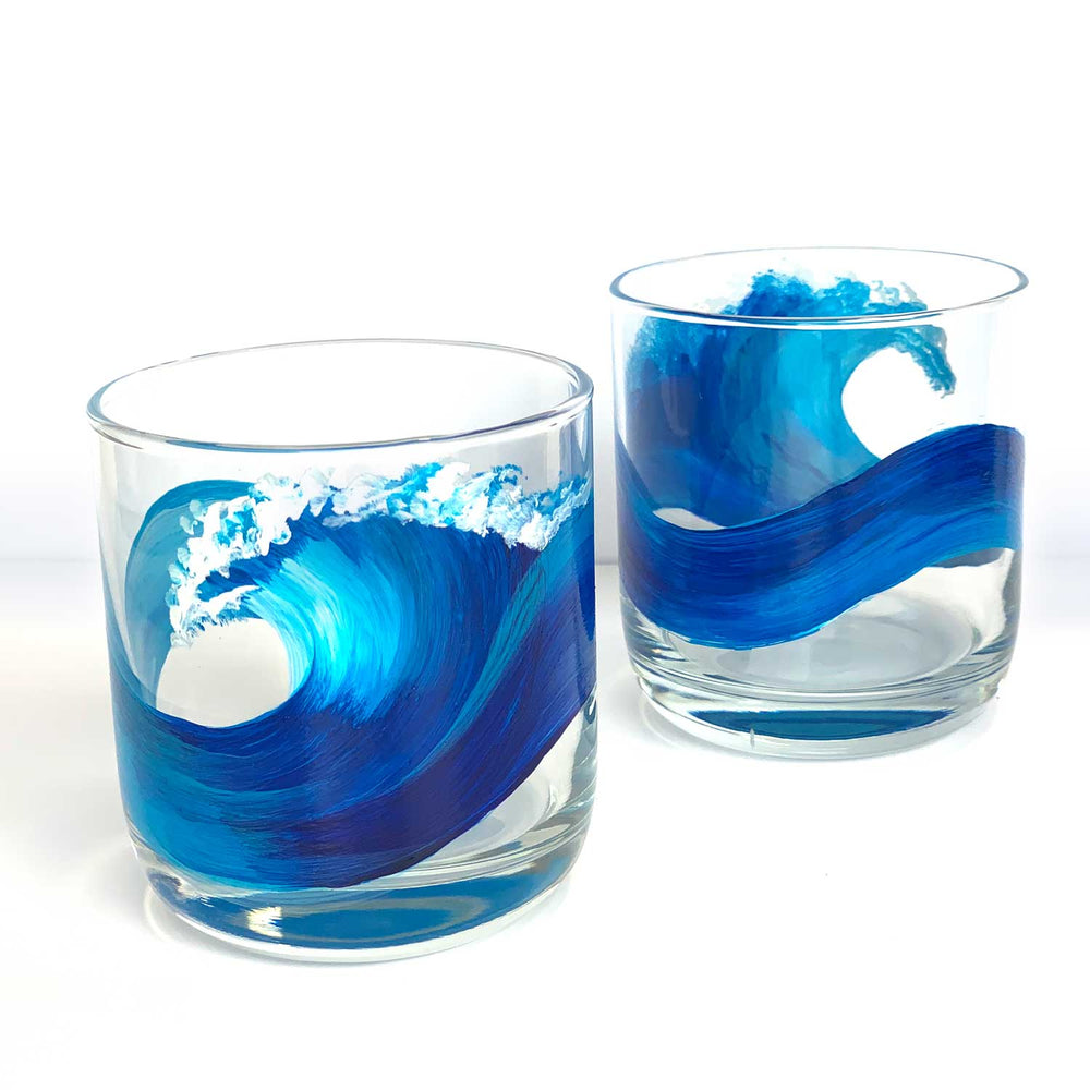 Tropical Painted Glasses - hand painted with a blue wave - perfect for beach lovers by Nelson Makes Art