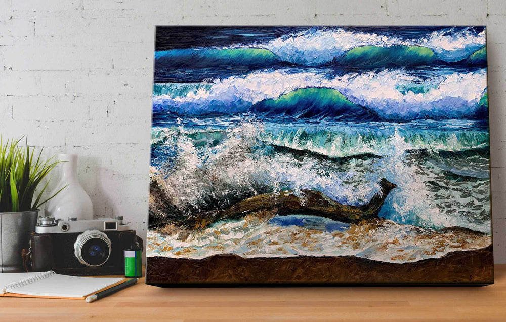 Original Beach Landscape Painting of Blue Ocean with Palette Knife