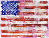 Red, white, pink, and blue painting of rustic American flag with rough edges and rich colors