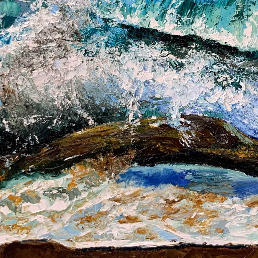 Oil on Canvas Painting of Beach Landscape with Foamy Waves