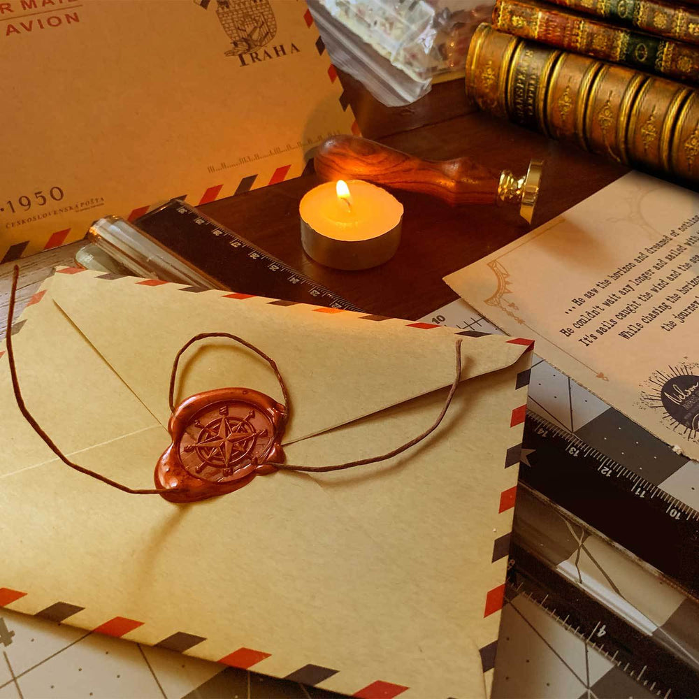 Piece of unique story sealed with wax inside an exotic and mysterious travel envelope
