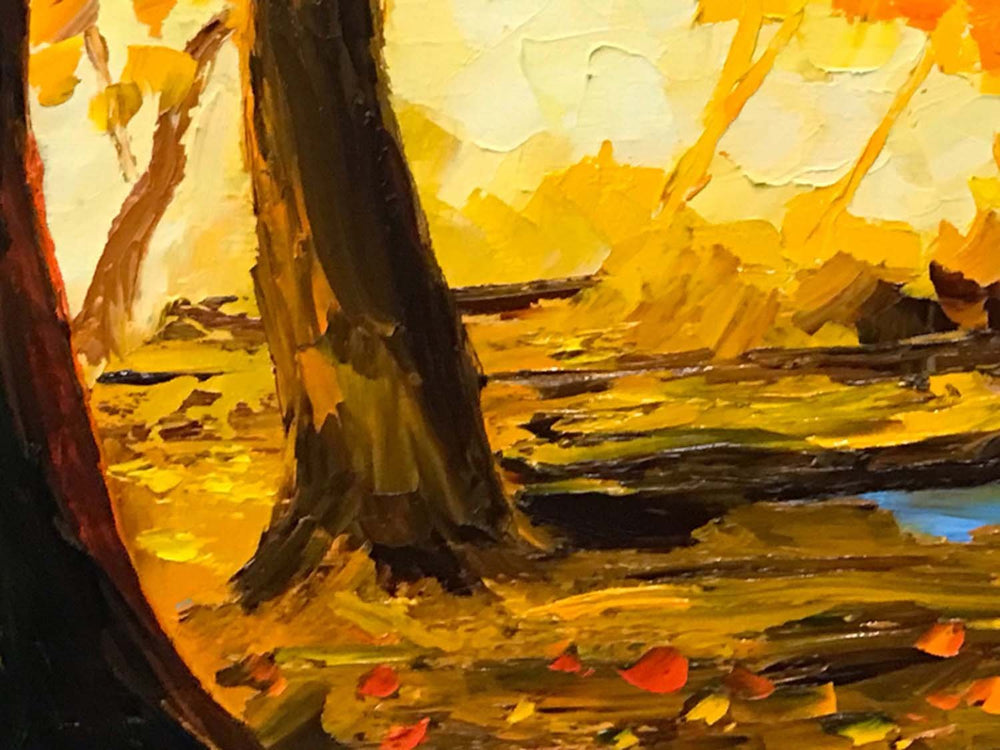 Original oil painting of fiery fall leaves against a blue sky. One of a kind fall decor for living room.