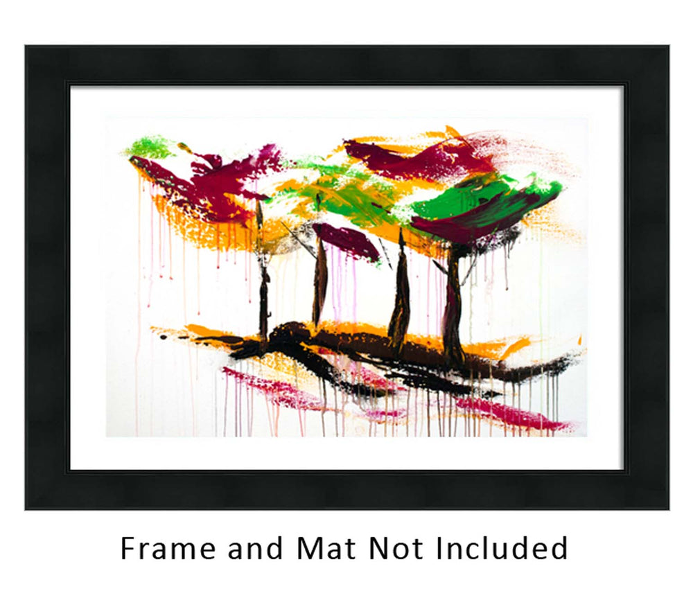Framed original acrylic painting of fall forest with colorful abstract trees on a white canvas
