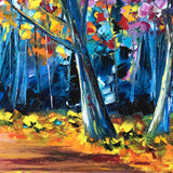 Blue tree trunks against vibrant fall foliage. Close detail of original oil painting for sale.