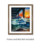 Coastal Wall Art Painting of Virginia Beach Sunrise with Crashing Green Waves