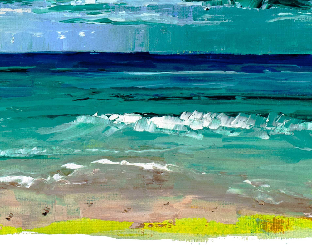 Affordable beach painting of tranquil blue and green ocean beyond an Ocean City, MD beach