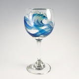 Hand Painted Red Wine Wave Glasses by Nelson Makes Art