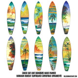 Tropical Christmas ornaments with hand-painted palm trees against distant islands. Perfect surfing Christmas gift.