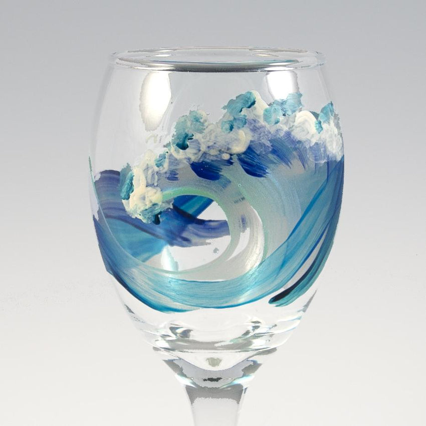 Hand Painted White Wine Wave Glasses by Nelson Makes Art