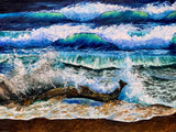Coastal Wall Art of Drift Wood on Beach with Crashing Blue Waves