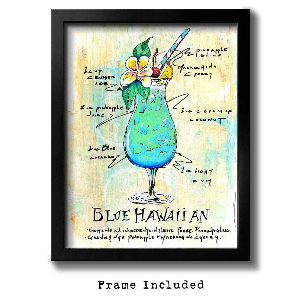 Framed wall art of Blue Hawaiian drink recipe surrounding a colorful painting of the cocktail