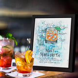 Hawaiian wall art of Maui Margarita recipe drawn around colorful image of the cocktail
