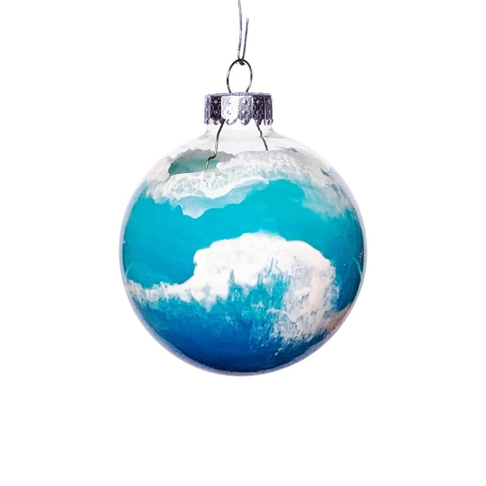 Blue and white Christmas ornament with rolling ocean waves as beach Christmas tree decor by Nelson Makes Art