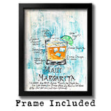 Framed tropical art of Margarita recipe on painted tile with orange drink on turquoise background