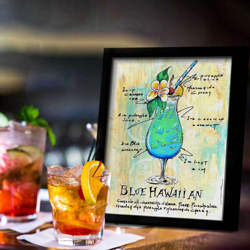 Retro home bar with framed painting of illustrated Blue Hawaiian drink recipe in aqua and gold