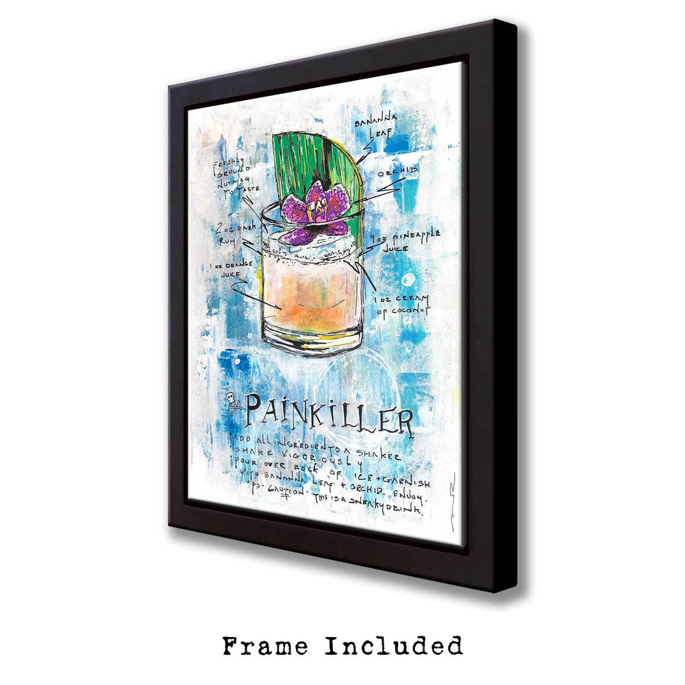 Home bar idea with framed cocktail recipe including colorful painted tropical drink