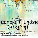 Pub décor of illustrated daiquiri cocktail recipe with hand-written instructions on abstract background