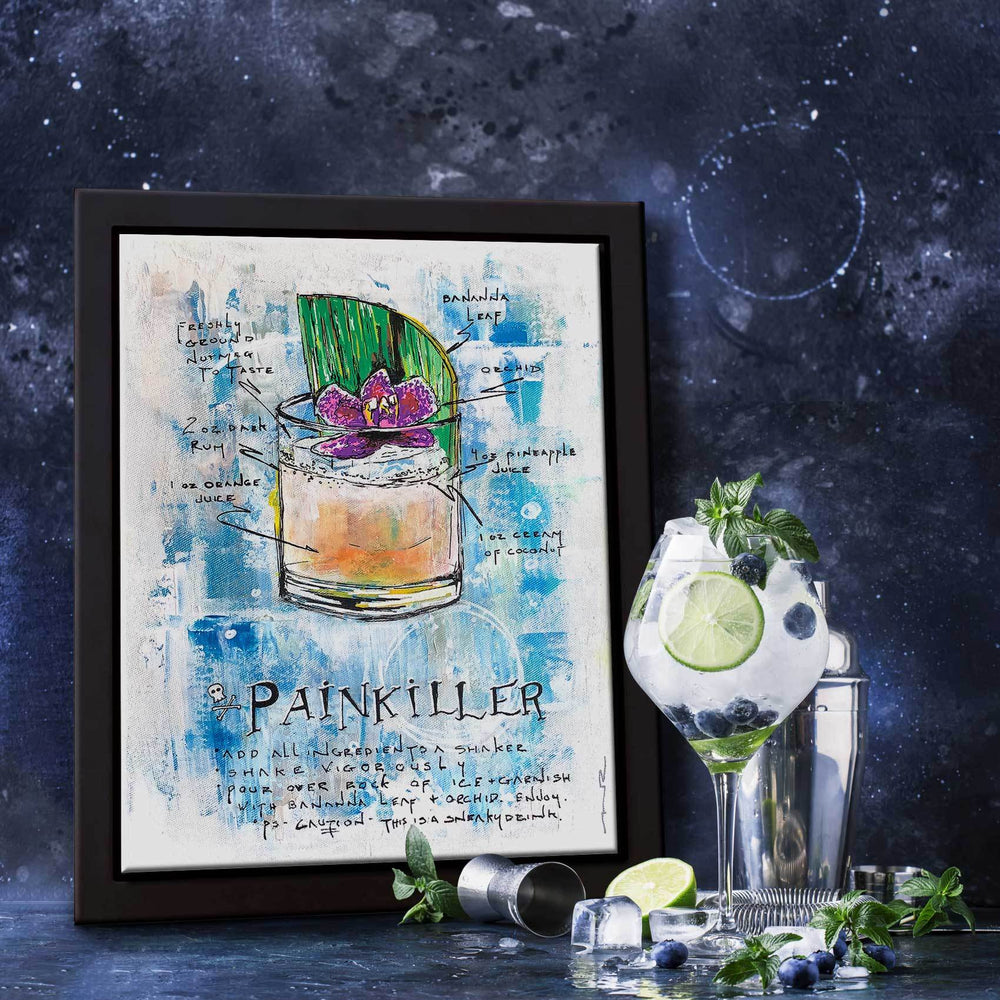 Classy home bar with framed painting of illustrated Painkiller drink recipe in blue and orange