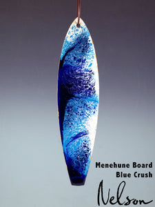 Hand painted Wooden Blue Sea Wave Christmas Surfboard Ornament by Nelson