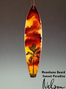 Hand Painted Sunset Paradise Surfboard Christmas Ornament-nelsonmakesart
