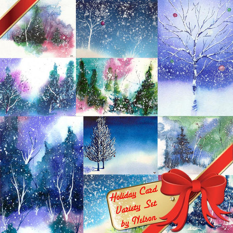 Hand painted holiday art card set by Nelson Makes Art