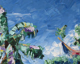 Vintage Island Art with Green Palette Knife Palm Trees and Blue Sky