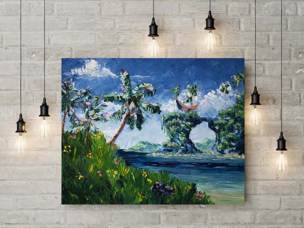Beach Landscape Painting with Turquoise Ocean as Wall Art
