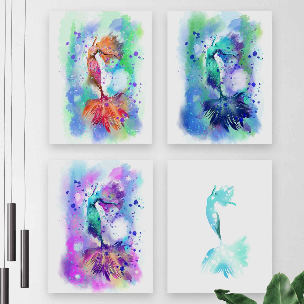Four printed art canvases of dancing mermaids in aqua, pink, peach, purple and blue, arranged on a white wall