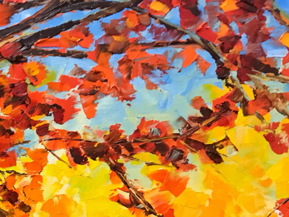 Mountain wall décor painting of brightly colored pink and gold fall leaves art. Original forest painting on canvas.