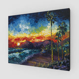 Large Oil on Canvas Painting of California Beach Sunset with Palm Trees