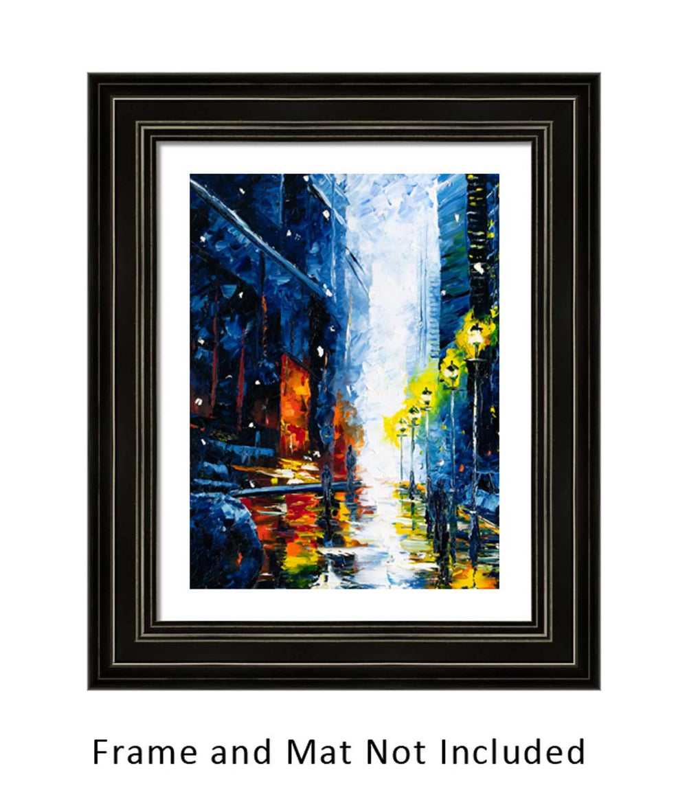 Original oil painting of snowy Chicago street and city skyline in blue and orange